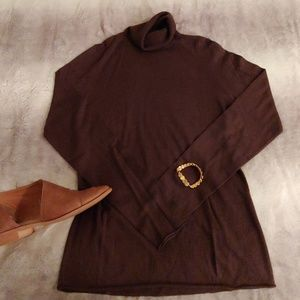 Chestnut brown turtleneck sweater from The Limited